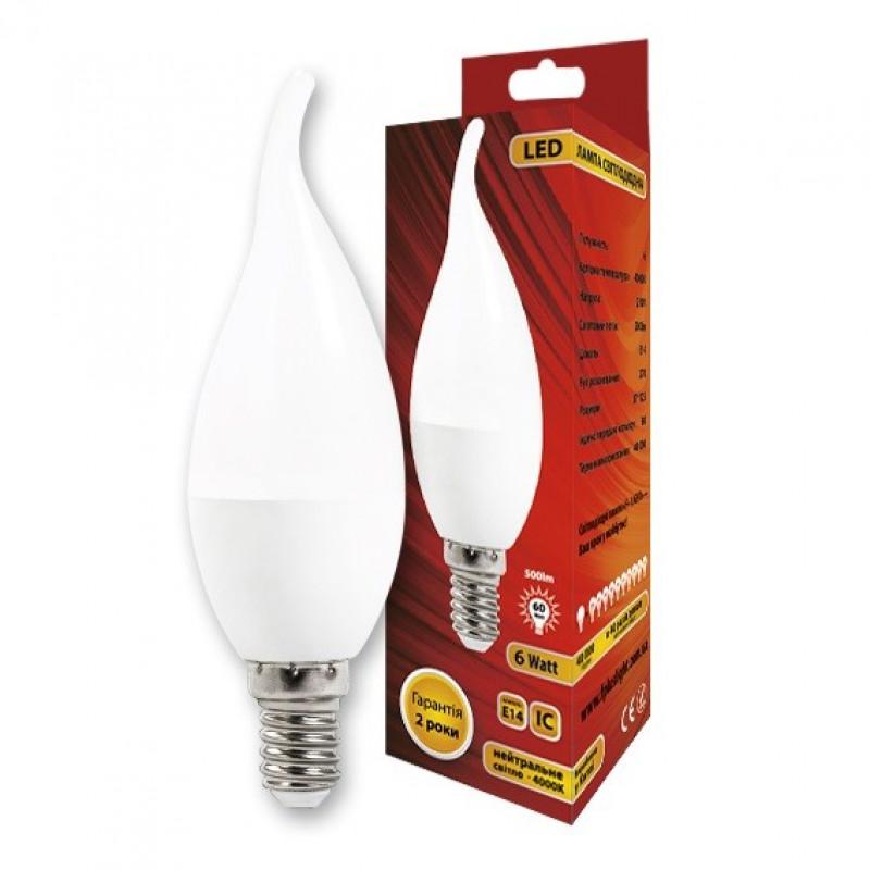 Фото Cветодиодная лампа C37L Свеча на ветру 6W 4000K E14 IC